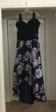 XScape Hi/Low Dress Size 16W Formal Navy Purple Bare Shoulder Jacquard