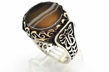 14 GRAM TURKISH OTTOMAN JEWELRY 925 STERLING SILVER BRONZE BROWN AGATE RING 12.5