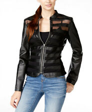 INC $120 NEW 2349 Illusion-Striped Faux-Leather Womens Jacket L