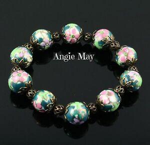 Vintage Inspired Filigree Brass & Porcelain Beads Stretch Bracelet 7 inch