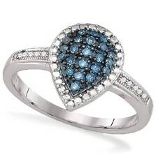 Blue Diamond Ring .925 Sterling Silver Blue Diamond Pear Cluster Ring .19ct