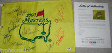 12 MASTERS WINNERS signed 2000 MASTERS flag w/ PSA LOA (PALMER & MICKELSON)