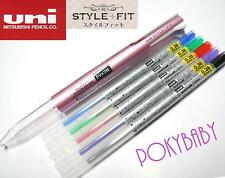 UNI-BALL style-fit 0.38mm roller ball pen free 5 colours refill PINK barrel
