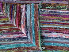 Hand Loomed Rag Rug Yoga Mat Vintage Throw Handmade Saree Chindi Dhurrie Carpet