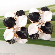 Gp Crystal Buckle Earrings E1141 Leaves White BlacK Enamel 18K