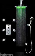 "Luxury Shower Set 10"" LED Round Shower Head Thermostatic 6 Massage Spray Body"