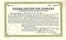 Arizona 1906, United Cotton Gin Company Stock Certificate