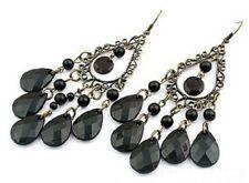 Pair Large Long Black Beads Chandelier Earrings Stud Pierced Ears Bohemian E31