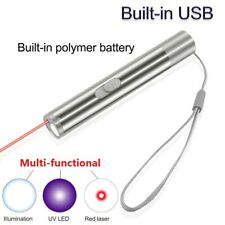 Laser Pointer Usb Rechargeable ~ Plug In ~ 3 in 1 Cat Pet Toy Red Uv Flashlight