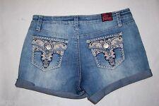 Girls Jean Shorts BLUE DENIM Low Rise DISTRESSED Hege POCKET FLAPS Rhinestone 16