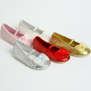 Girls Children's Kids Sparkly Glitter Flower Girl or Bridesmaid Party Shoes