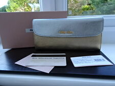 MAGNIFIQUE 100% Authentique MIU MIU Gold & Silver Leather Purse Wallet Entièrement neuf dans sa boîte