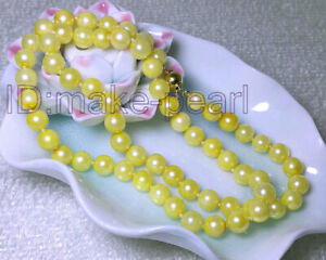 """Elegant 6-6.5mm Perfect Round Golden Yellow Akoya Sea Pearls Necklace 17"""""""