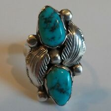 """VINTAGE STERLING SILVER & TURQUOISE RING, SIGNED """"SIMPLIGIO"""", Size 6.5, 5 grams"""