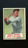 1961 Topps BB Card #405 Lou Gehrig Benched After 2130 Games NR-MINT