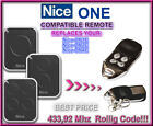 Nice ON1E / Nice ON2E / ON4E compatible remote control replacement 433,92Mhz