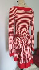BETSEY JOHNSON VINTAGE Punk Red/White Striped Henley Bustle Dress with Ruching