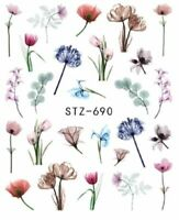 Nail Art Stickers Water Decals Transfers Spring Flowers (STZ690)