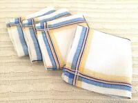 VINTAGE Napkins Set of 4 White Cotton Yellow,Orange,Blue Plaid French Country