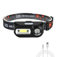 LED Headlamp COB XPE USB Rechargeable Headlight Head Hand Wave Sensor Torch