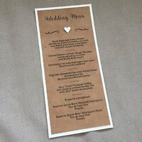 10 X Handmade Personalised Vintage Rustic 3D Heart Table Flat Menu Cards DL size