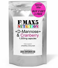 D-Mannose and Cranberry 1000mg 90 Capsules UTI & Bladder Support - Made in UK