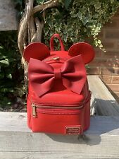 More details for loungefly disney red bow minnie mouse original heart logo backpack