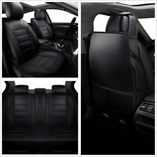 Black PU Leather Car 5-Seat Seat Covers Protector Cushion Mat For All Seasons