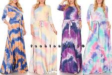 Plus Multi-Color Tie Dye Jersey Maxi Dress Side Pocket Full Sweep Long Skirt