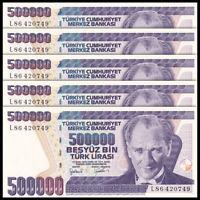 Lot 5 PCS. Turkey 500,000 500000 Lira, 1970, P-212, Banknotes, UNC