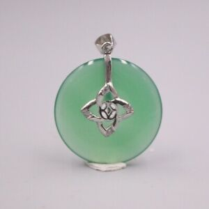 New S925 Sterling Silver Women Luck Green Chalcedony Circle Pendant 32x23mm