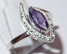 Amethyst marquis with White Topaz accents, 1.0ct, in Sterling Silver, Size P.