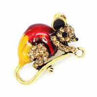 Betsey Johnson Lovely Enamel Crystal Mouse Rat Charm Animal Brooch Pin Gift