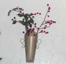 "Rustic Tan Wall Pocket Flower Vase Greenery Display Metal Wall Decor 9.25"" New"