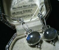 New Sterling SILVER Art Nouveau Revival Real Labradorite Moonstone Drop EARRINGS