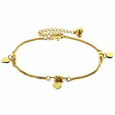 Genuine 18K Yellow Gold GP Anklet with Golden Beads Sweet Hearts Bell TI00071