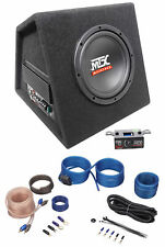 "MTX RTP8A 8"" 120w RMS Powered Subwoofer In Vented Sub Box Enclosure+Wire Kit"