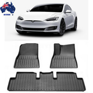 Tesla Model 3 All Weather Floor Rubber Mats Front&Rear 2 Row Seat Set 2017-2021