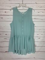Frenchi Stitch Fix Women's XL Extra Large Blue Sleeveless Spring Tunic Top Tank