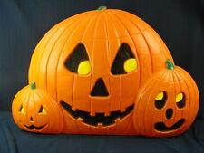 "Vtg Union Blowmold Halloween Don Featherstone 3 Pumpkins Light 32"" Signed Nice"