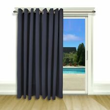 Ultimate Blackout Patio Door Curtain Panel with Detachable Wand Handle, Blue