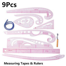 9x Multi Soft Styling Design Drawing Comma Line Straight French Curve Ruler Set