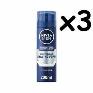 3 x Nivea Men Protect & Care Moisturising Shaving Foam Aloe Vera 200ml each