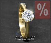 Diamant 585 Gold Damen Ring, 1,03 ct Brillant; River E, Si1-2, 14 Karat Gelbgold