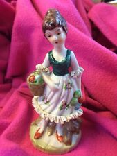 Girl With Flower Basket Figurine Pre Owned