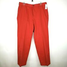 Brooks Brothers Mens Size 33W 30L Red Hudson Flat Front Relaxed Fit Pants NWT
