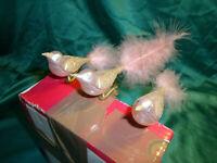 ~ alter Christbaumschmuck Glas 3 Vögel auf Clip rosa pastell gold Vogel Vintage