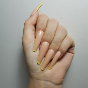 French Nude beige neon long coffin ballerina press on false fake acrylic nails