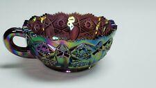 Vintage L E Smith Amethyst Carnival glass Nappy Bowl W/Handle