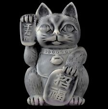 "Maneki Neko Japanese Lucky Cat Marble Figurine Russian Art Stone Sculpture 2.8"""